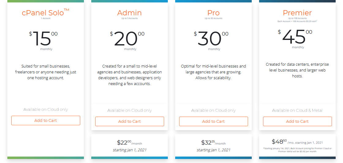 Cpanel Pricing