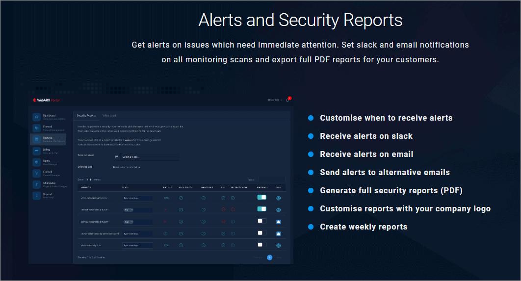 webarx features alerts