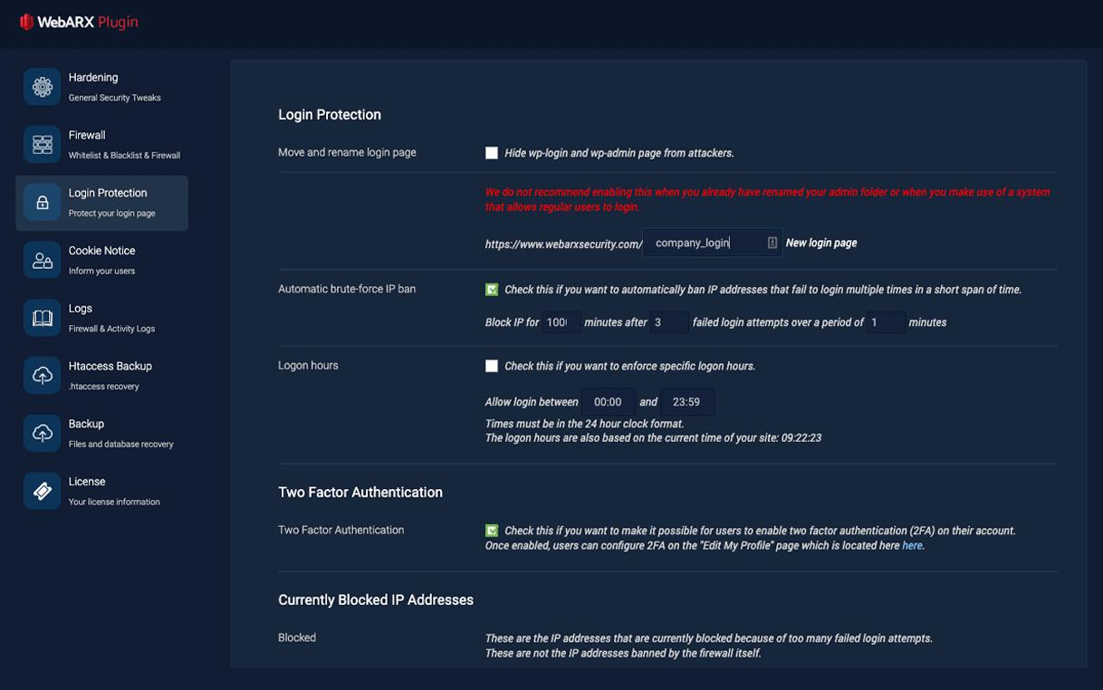 webarx login