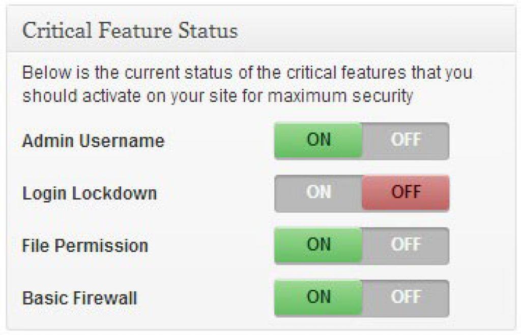 critical security feature status
