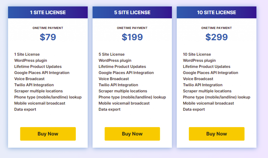 Local Lead Scanner pricing.