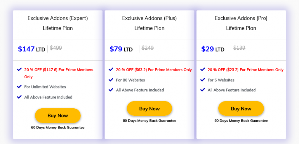 Exclusive Addons for Elementor Pricing