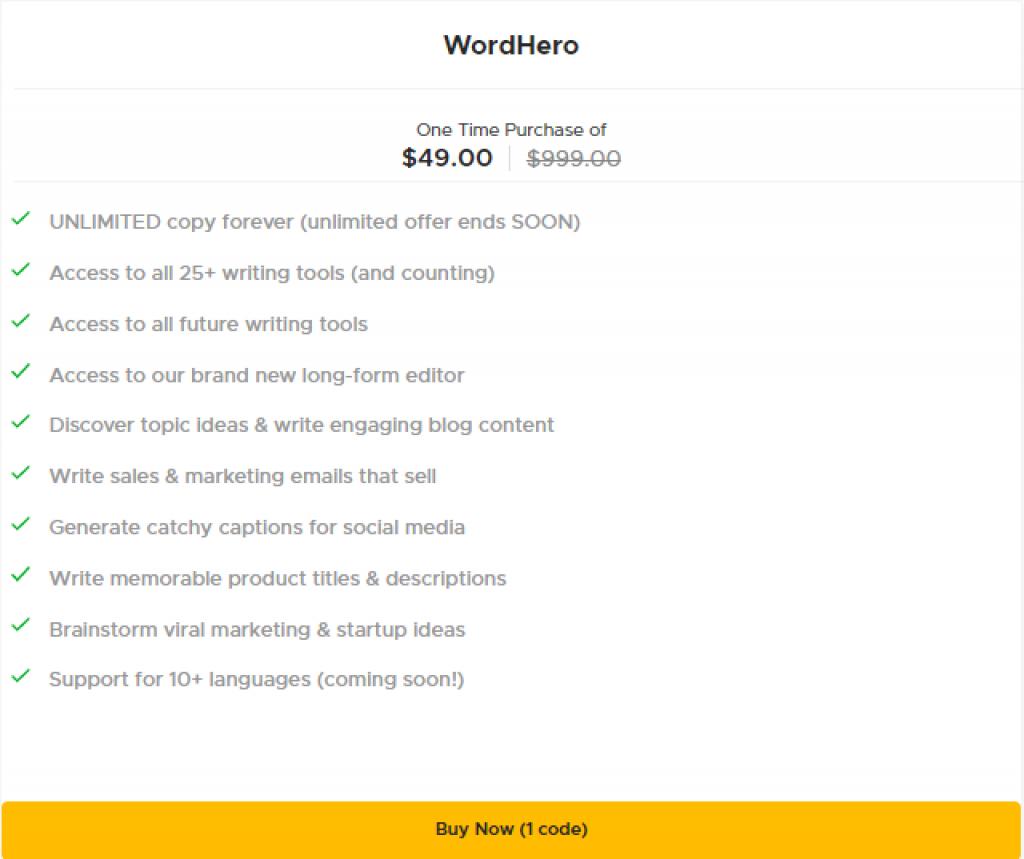Word hero Pricing